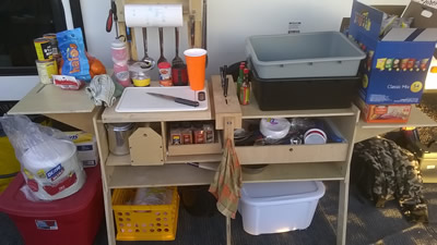 Two GrabBoxes attached at the side to make a full access camp kitchen.