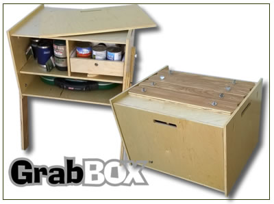 Grab Box shown in semi closed and closed.  Folds up into a compact cabinet with legs attached to the top